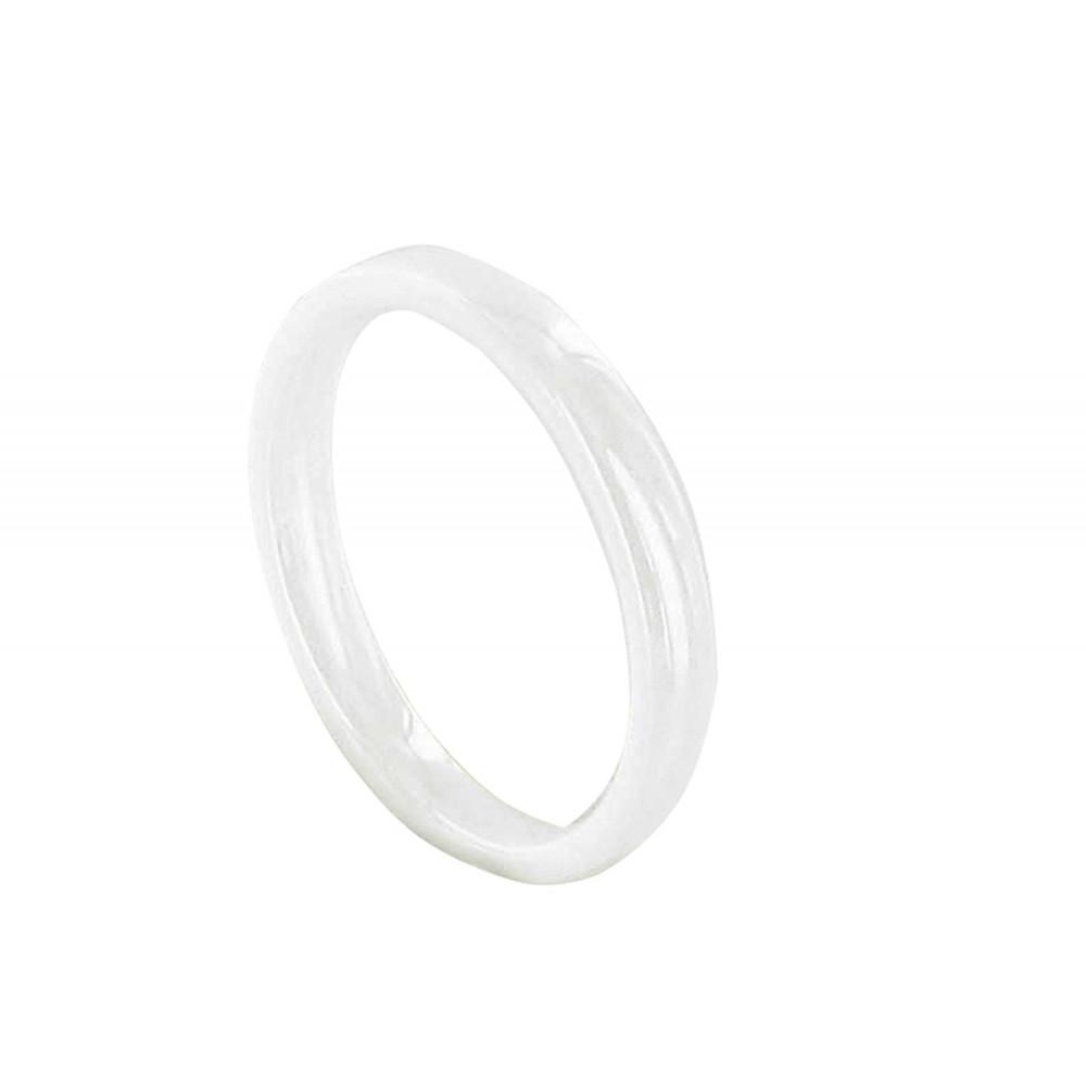 Bague Anneau de Céramique Blanche - 3mm - taille 50