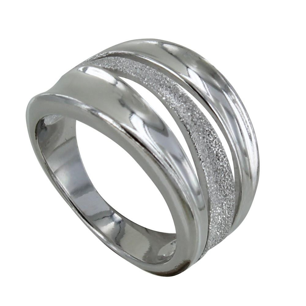 Bague Argent Rhodié Vague Lisse et Diamantée - taille 60