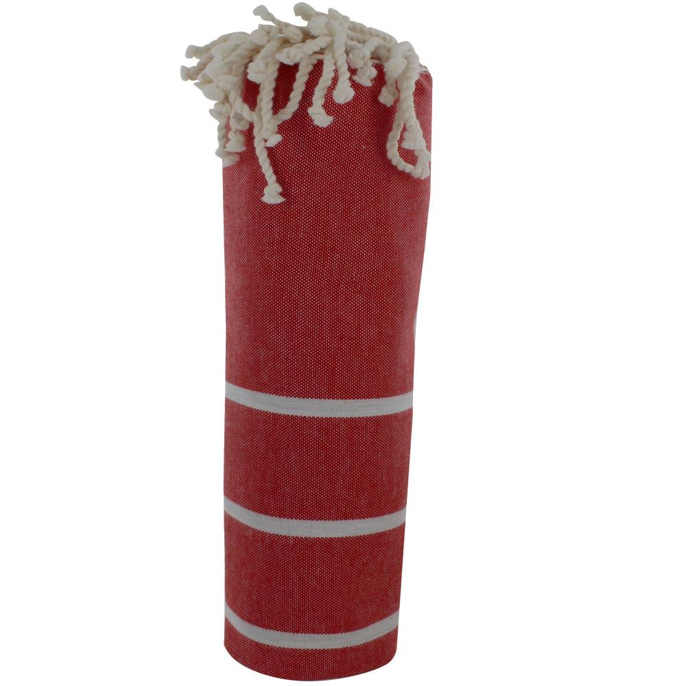 fouta drap plage et hammam coton couleur rouge fonc petites rayures blanches. Black Bedroom Furniture Sets. Home Design Ideas