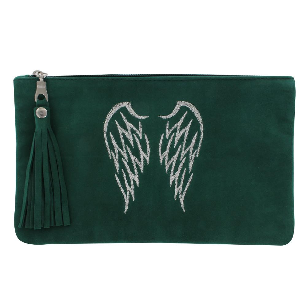 pochette sac daim brod deux ailes d 39 ange couleur vert sapin. Black Bedroom Furniture Sets. Home Design Ideas