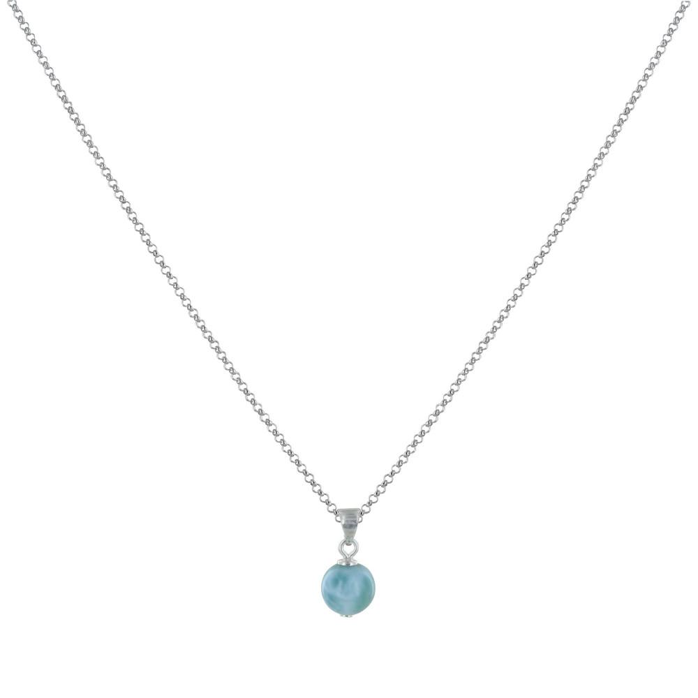 Collier Chaine Argent et Petite Perle de Larimar