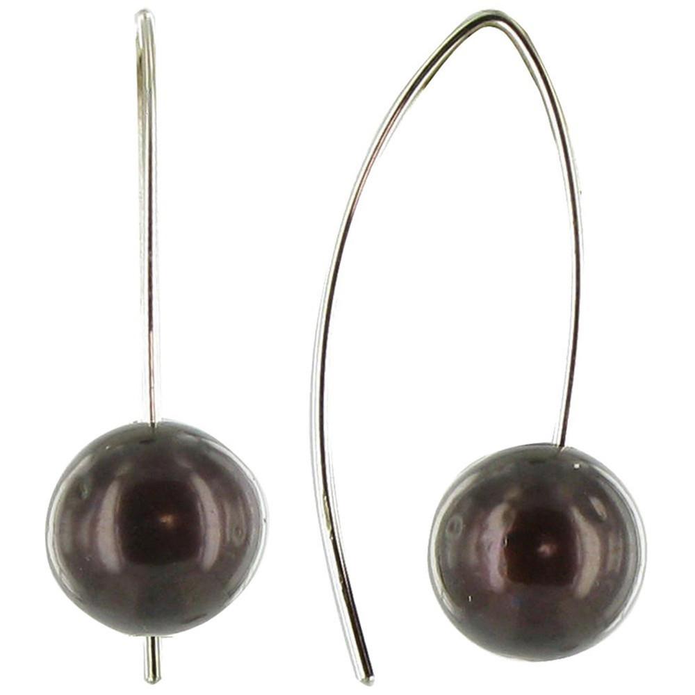 Boucles d'Oreilles Perle de Culture 11 mm Courtes – Classics – Marron foncé