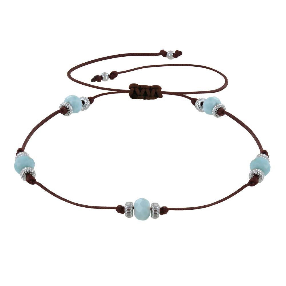Bracelet Lien Cinq Perles Facettées de Larimar – Marron foncé