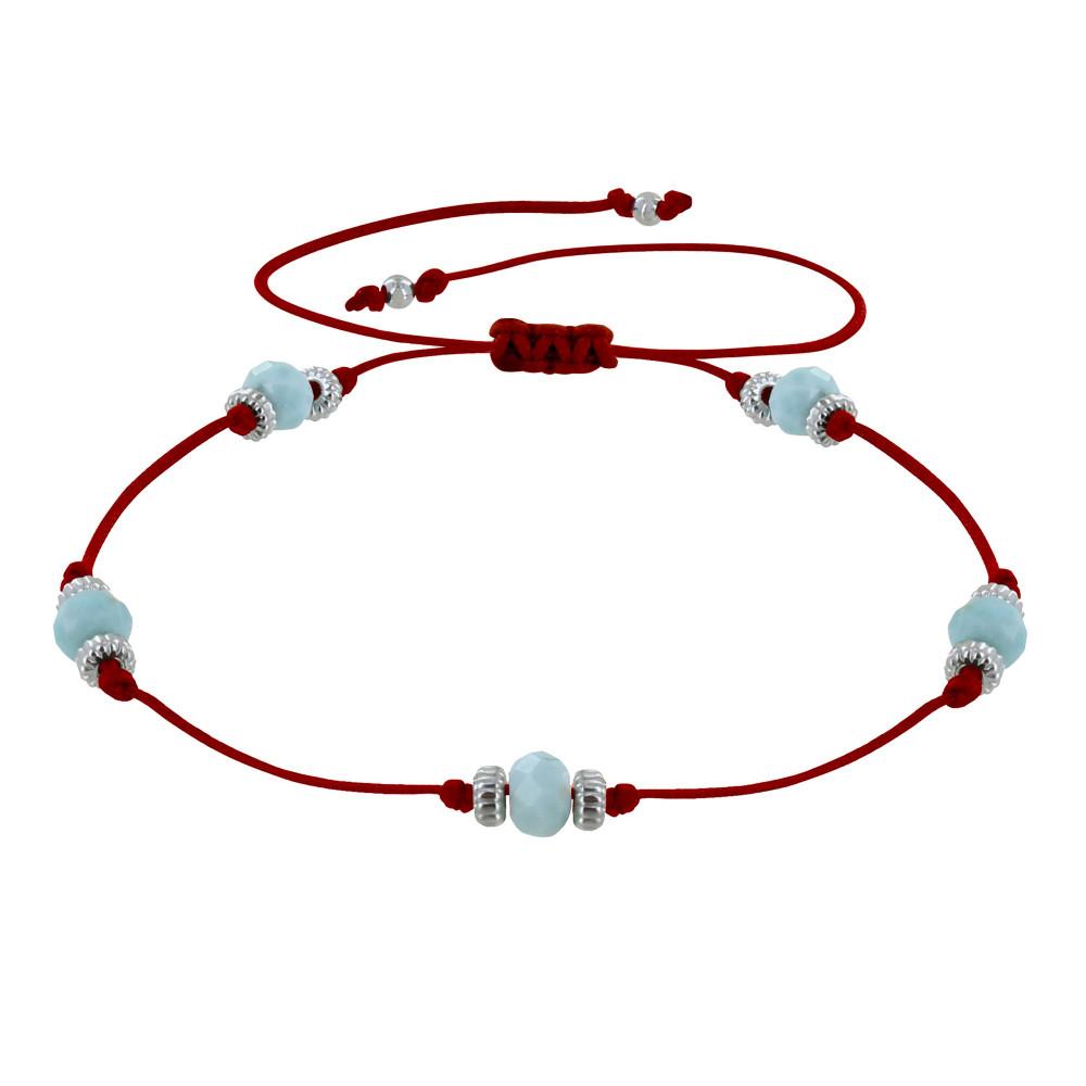 Bracelet Lien Cinq Perles Facettées de Larimar – Rouge