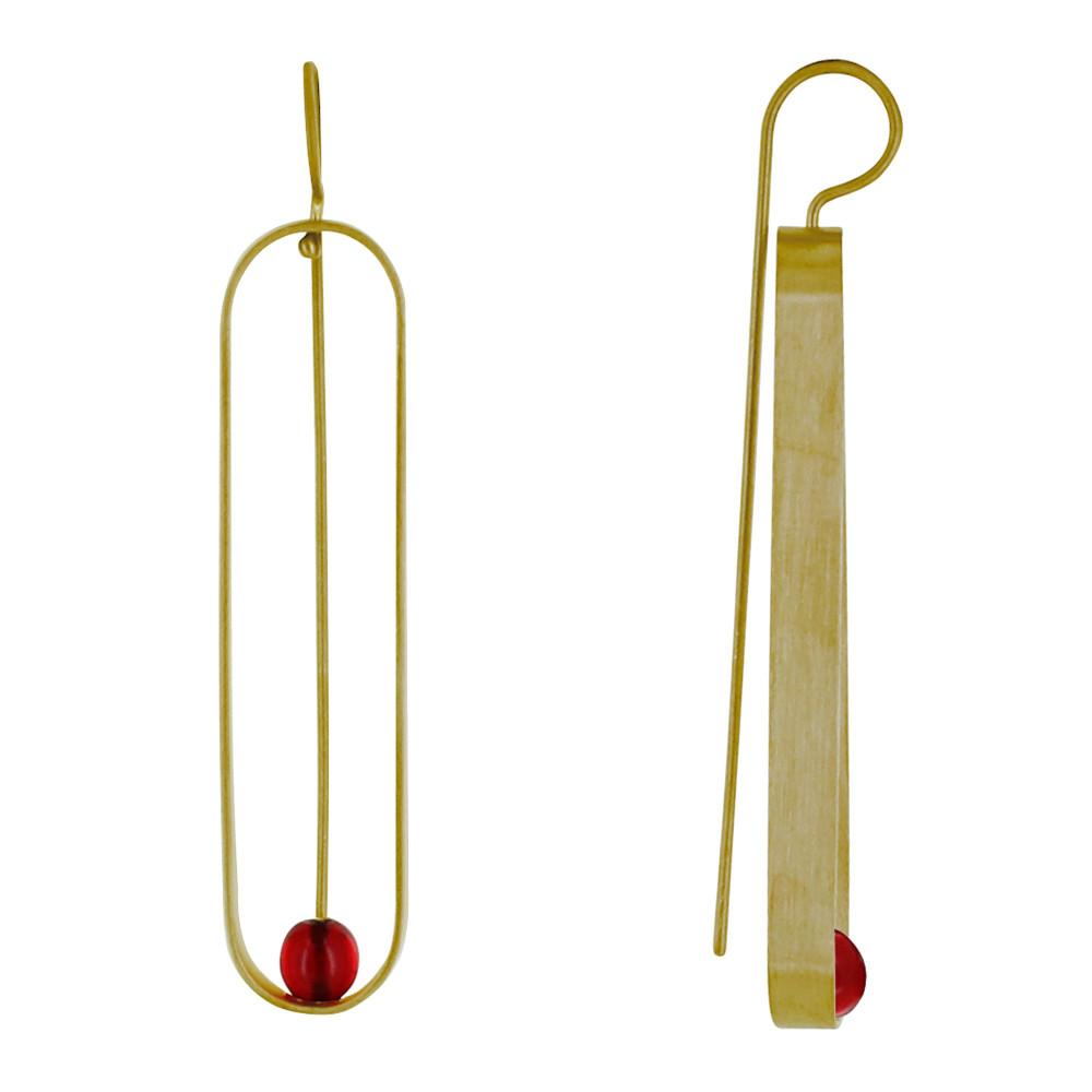 Boucles d'Oreilles Crochet Laiton Ovale et Perle de Verre – Rouge