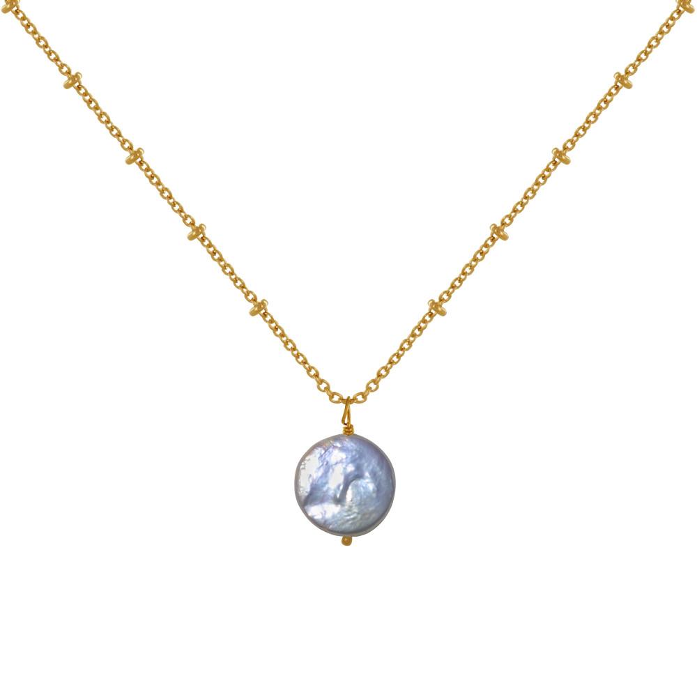 Collier Plaqué Perle de Nacre Plate - Les Poulettes Bijoux - Modalova